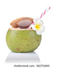 Coconut Water Drink, beach cafe, plumeria flower isolated on white background. This has clipping path.