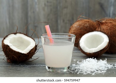 coconut water in glass on gray background