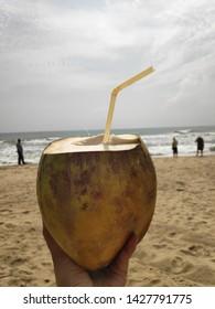 Coconut Water Refreshments at Paradise Beach in Pondicherry/Puducherry, Tamil Nadu, India