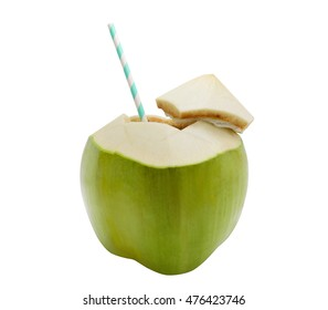 Coconut water with straw on white isolated background. Clipping path.