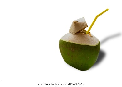 Coconut water with white background