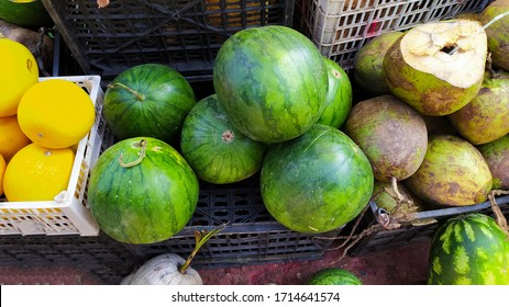 Coconut and watermelon fruits from market ima keithel market manipur