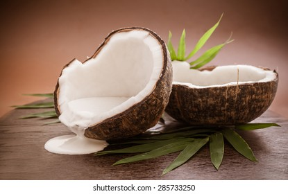 Coconuts with cream and leaf