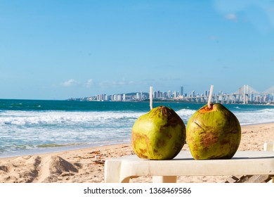 Coconuts fruit on the beach in Natal Brazil.