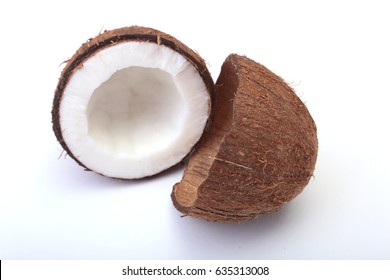 coconuts Half isolated on the white background .