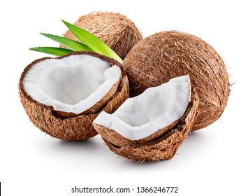 Coconuts isolated. Coconut half, coco piece and leaves isolate. cocos white.