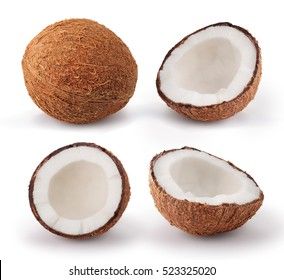 Coconuts isolated on white background. Collection.