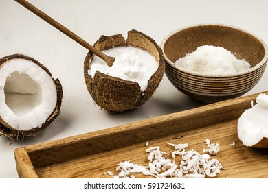 Coconuts isolated on white background. Collection. Coconut vegan milk non dairy in bottles. Coconut milk for your design. Coconut milk infographics Coconut close up over head on wood board