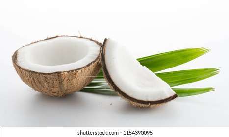 coconuts with leaves isolated on the white background