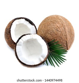 Coconuts with leaves isolated on white backgrounds.