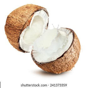 Coconuts with milk splash on white background