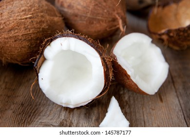 coconuts on a wooden background