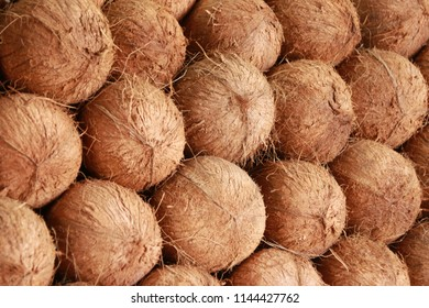 Coconuts at Port Louis market, Mauritius.