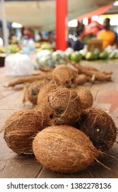 Coconuts at Victoria market, Seychelles.
