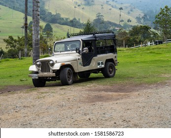 Cocora valley - Colombia, November 4, 2019 - Jeep willys in Cocora Valley  in Colombia - The Jeep willys is the principal transport in the Cocora Valley