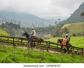 Cocora valley - Colombia, November 4, 2019 - Tourist enjoying in Cocora Valley in Colombia