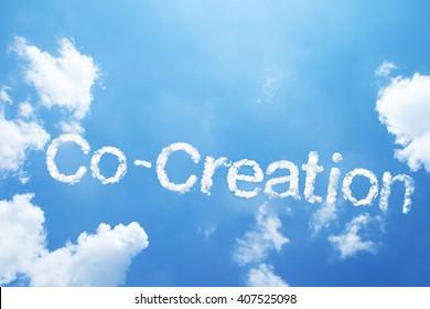 """Co-Creation"" cloud word on sky."