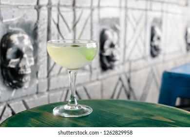 coctail daiquiri close up on the bar . Daiquiri frozen cocktail. Restaurant menu