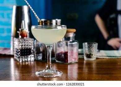 coctail daiquiri close up on the bar. Daiquiri frozen cocktail. Restaurant menu