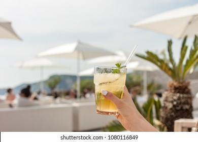 coctail glass in beach club