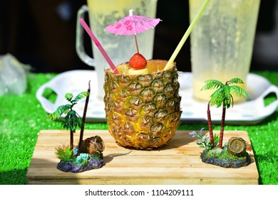 Coctail in pineapple