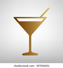 Coctail sign. Flat style icon