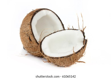 cocunut shell opened up isolated on a white background
