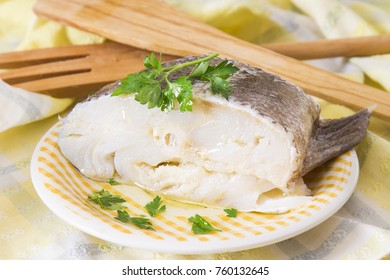 cod dish in green sauce with parsley