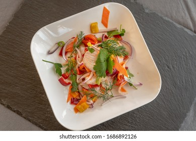 cod fish with delicious vegetables