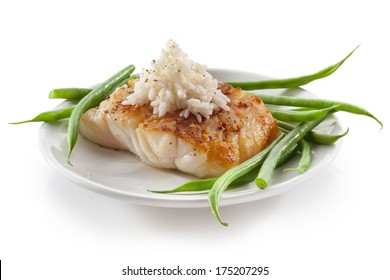 cod fish with vegetables green beans and rice