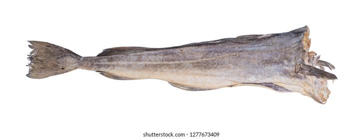 Cod stockfish isolated on white background