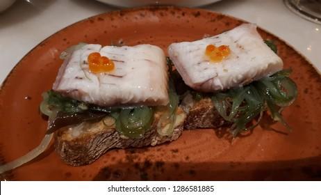 Cod toast with wakame seaweed