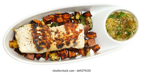 Cod and Tomatillo Salsa with Summer Squash Salsa and Sweet Potato Hash