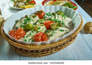 Cod with Tomato and Herb Butter, one-pan baked cod dish