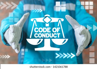 Code of conduct industrial workers relationship concept. Worker offers scales with code of conduct collocation on virtual screen.