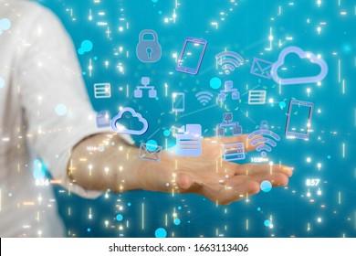 code data concept in hand digital 3d