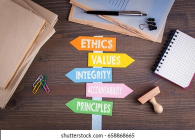 code of ethics concept. Paper signpost on a wooden desk