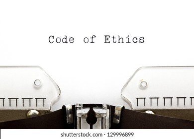 Code of Ethics printed on an old typewriter.