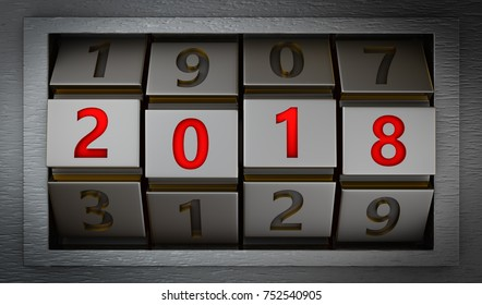 Code lock with the number 2018. 3d render.