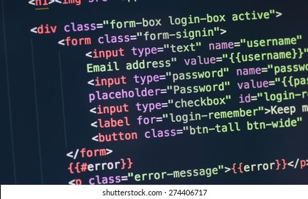 Code syntax on a computer screen