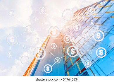 Coded or Digital money concept.Bitcoin and International currencies network