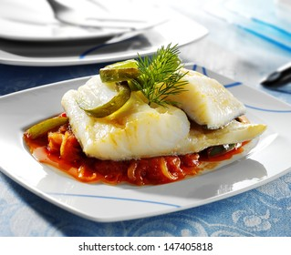 codfish dish served on restaurant