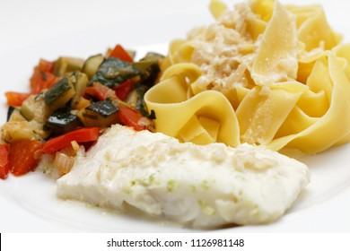Codfish with noodles and ratatouille