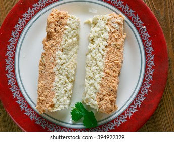 Codfish and Salmon Terrine.French  similar to a pate coarsely chopped ingredients