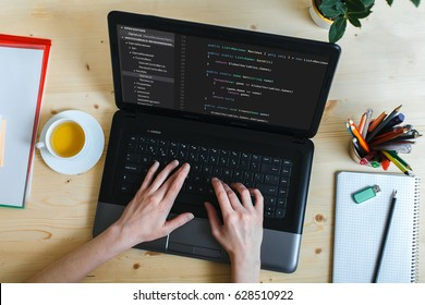 coding code program programming developer compute web development coder work design software closeup desk write workstation