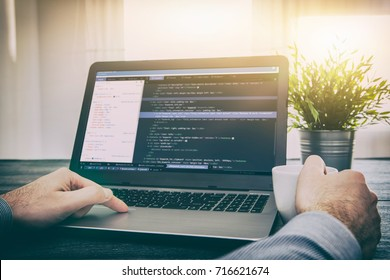 coding code program programming developer compute web development coder work design software closeup desk write workstation key password theft hacking firewall concept - stock image