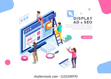 Coding people team work together. Seo optimization for target searching process. Pay click social content development tool. Flat Isometric characters illustration. Display campaign.