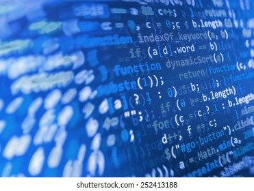 Coding programming source code screen. Colorful abstract data display. Software developer web program script. Blue background color, white text chars and digits.
