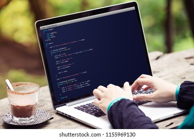 Coding and programming for web development and web design concept using laptop / computer. Coding concept. Programming concept.