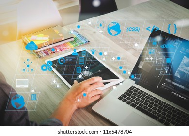 Coding software developer work with AR new design dashboard computer icons of scrum agile development and code fork and versioning with responsive cybersecurity.website designer hand attending video
